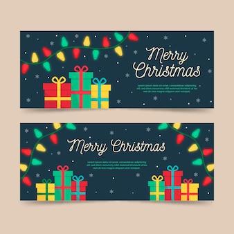 Płaskie wesołych świąt bożego narodzenia banery