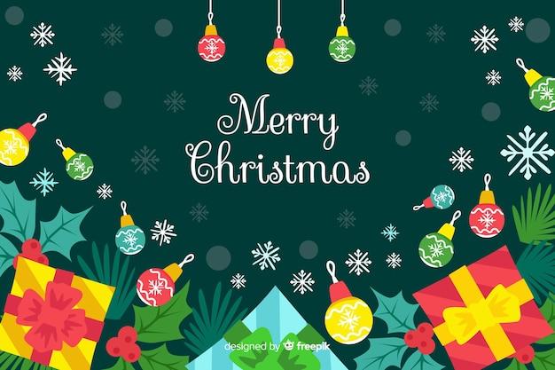 Płaskie wesołych świąt bożego narodzenia tło z prezentów