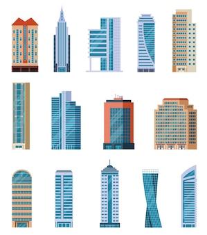 Płaskie wieżowce. nowoczesne wysokie budynki miasta. na zewnątrz budynków mieszkalnych i biurowych. bloki mieszkalne na białym tle kreskówka wektor zestaw. ilustracja budowa wieżowca, wysoka architektura budynku