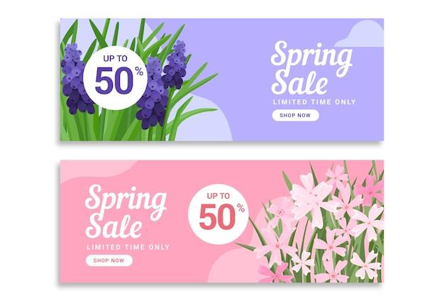 Płaskie wiosenne banery sprzedaż