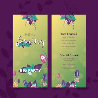 Płaskie wiosenne menu z roślinami