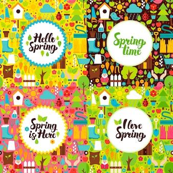 Płaskie wiosenne pocztówki ogrodowe. wektor ilustracja natura plakaty z odręcznym napisem.