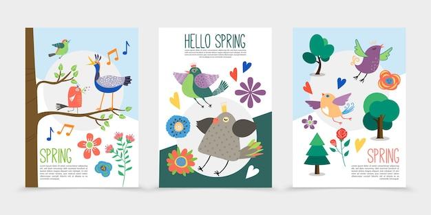 Płaskie wiosenne romantyczne plakaty z kwitnącymi pięknymi kwiatami śpiewającymi ptaki siedzące na gałęziach drzew