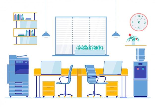Płaskie wnętrze miejsca pracy dla dwóch pracowników w biurze