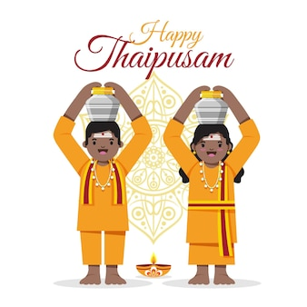 Płaskie wydarzenie thaipusam z uśmiechniętymi ludźmi