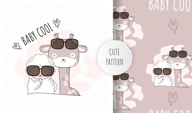 Płaskie wzór cute owiec z baby żyrafa