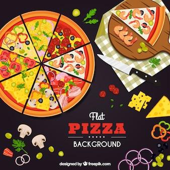 Płaskie wzornictwo różnych pizzy w tle