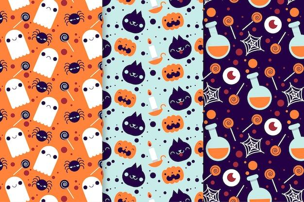 Płaskie wzory halloween