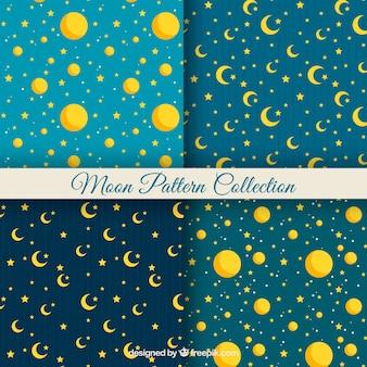 Płaskie wzory żółtych gwiazd i księżyców