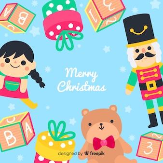 Płaskie zabawki świąteczne tło