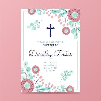 Płaskie zaproszenie na chrzest