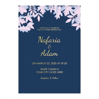 Płaskie zaproszenie na ślub z niebieskim tle