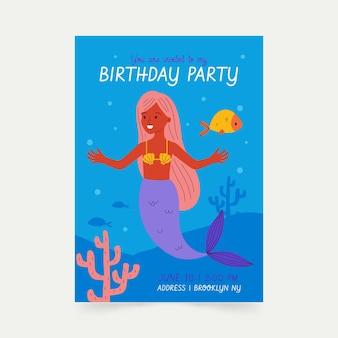 Płaskie zaproszenie na urodziny syrenka