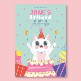 Płaskie zaproszenie urodzinowe dla dzieci z kotem