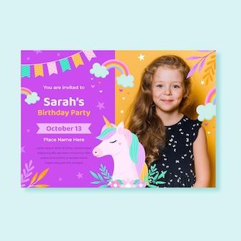 Płaskie zaproszenie urodzinowe jednorożca ze zdjęciem