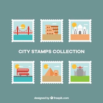 Płaskie zbiór znaczków miasta