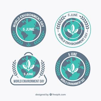 Płaskie zebranie światowych etykiet na dzień środowiska