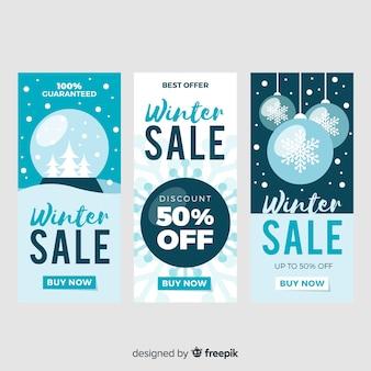 Płaskie zimowe banery sprzedaż