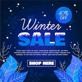 Płaskie zimowe tło sprzedaży