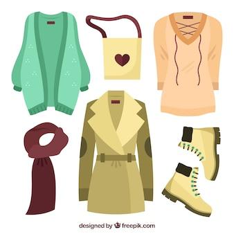 Płaskie zimowe ubrania dla kobiet