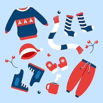 Płaskie zimowe ubrania i niezbędne artykuły