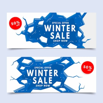 Płaskie zimowe wyprzedażowe banery pakiet