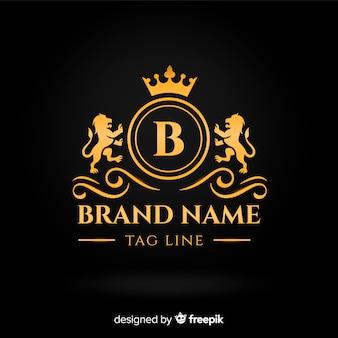 Płaskie złote eleganckie logo szablon