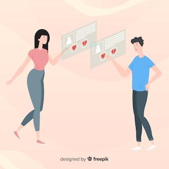 Płaskie znaki przy użyciu koncepcji aplikacji randkowych