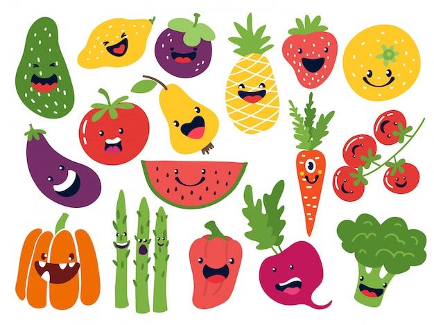 Płaskie znaki warzywne. śmieszne buźki doodle owoce, ręcznie rysowane jagody ziemniak cebula pomidor jabłka. zestaw emotikonów słodkie owoce