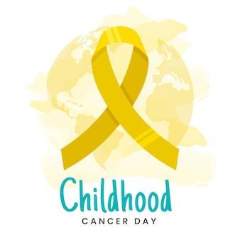 Płaskie żółte wstążki dzień raka dzieciństwa