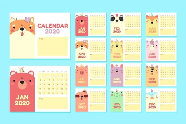 Płaskie zwierzęta kalendarz 2020 zestaw szablonów