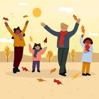 Płaskiego projekta ludzie w jesień parka ilustraci