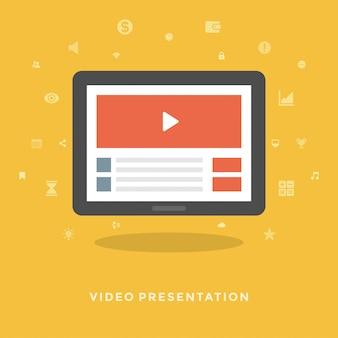 Płaskiego projekta wektorowy biznesowy ilustracyjny pojęcie wideo marketing
