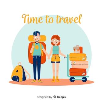 Płaskiej szczęśliwej pary podróżny tło