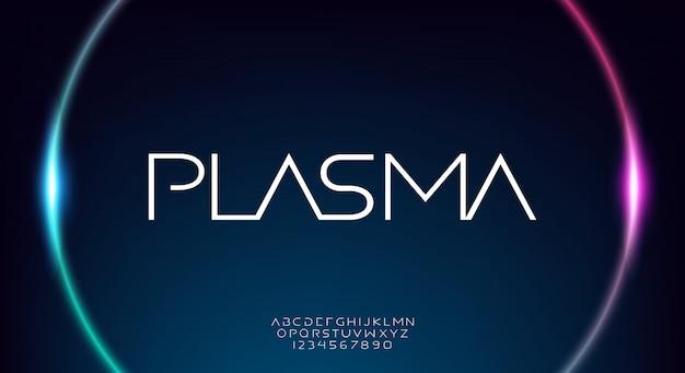 Plasma, czcionka alfabetu naukowego o abstrakcyjnej technologii. typografia w przestrzeni cyfrowej, szeroki i cienki nowoczesny krój