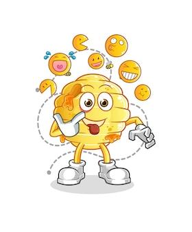 Plaster miodu śmieje się i kpi z postaci. kreskówka maskotka
