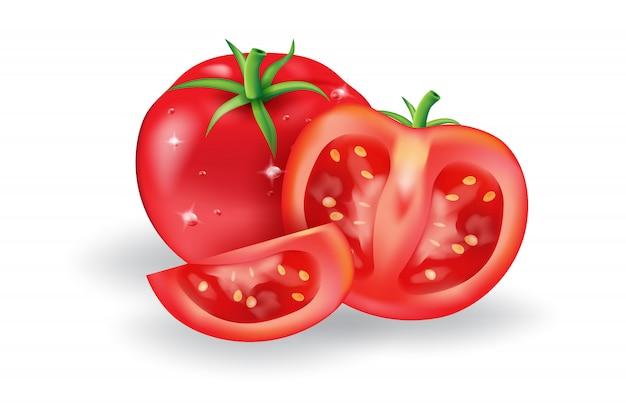 Plasterek czerwonych świeżych pomidorów