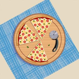 Plasterek margarita pizza na desce i nożu tarczowym.