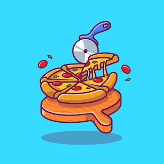 Plasterek pizzy stopiony ilustracja kreskówka.