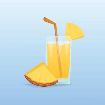 Plasterki ananasa i świeży sok izolowany naturalny tropikalny koktajl realistyczny owoc