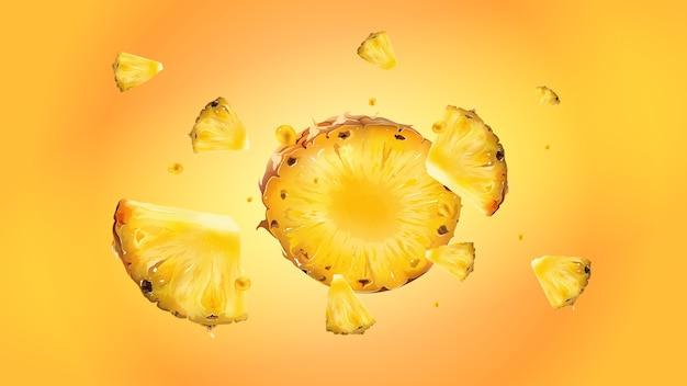 Plasterki ananasa z kropelkami soku rozrzucone są w różnych kierunkach na żółtym tle. realistyczna ilustracja.
