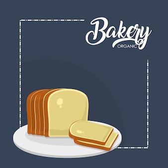 Plasterki chleby na naczynie wektorowym graficznym projekcie