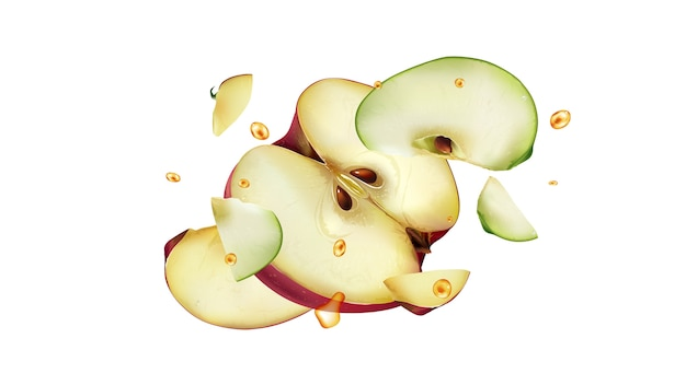 Plasterki czerwonych i zielonych jabłek z kroplami soku latają w różnych kierunkach. realistyczna ilustracja.