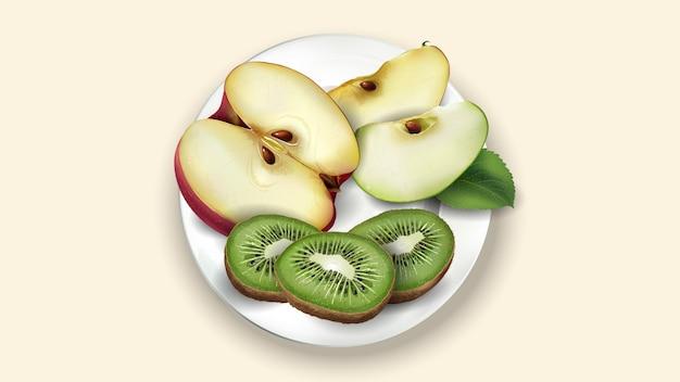 Plasterki kiwi, czerwone i zielone jabłko na białym talerzu.