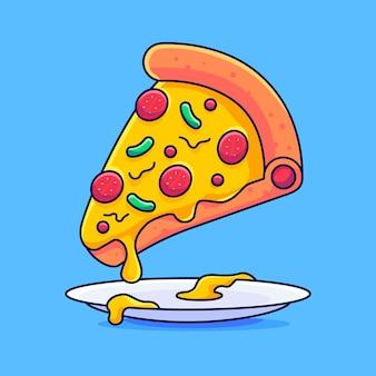 Plasterki pizzy lecą na talerzach kawałek pizzy fast food