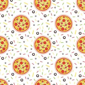 Plasterki pizzy salami wzór. ilustracja wektorowa na białym tle. śmieszne, kreskówki plastry pizzy. druk na wzór pizzy na tekstylia lub papier