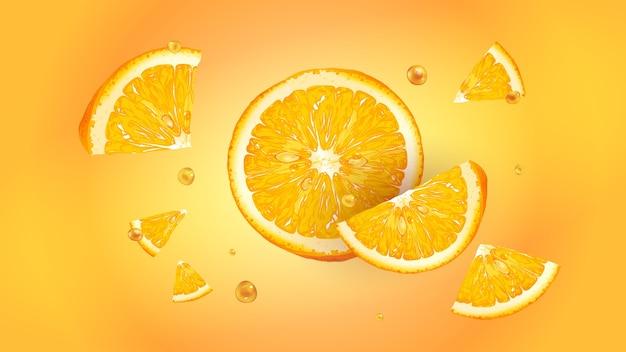 Plasterki pomarańczy z kroplami soku rozrzucają się w różnych kierunkach. realistyczna ilustracja.