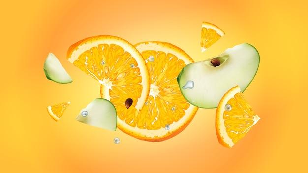Plasterki soczystego pomarańczy i zielonego jabłka lecą z kroplami wody na żółtym tle. realistyczna ilustracja.