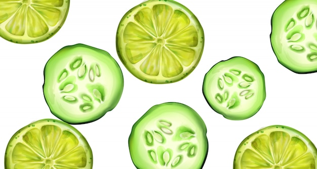 Plasterki zielonego ogórka i limonki na baner