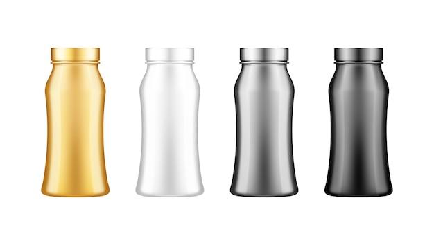 Plastikowa butelka jogurtu, mleka, soku lub szamponu z zestawem makiety pokrywki na białym tle